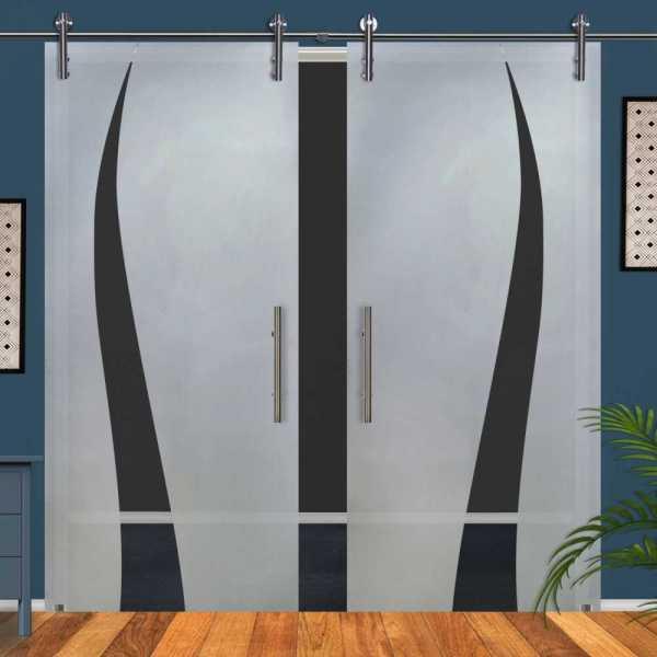 Double Glass Barn Door (Model DSGD-V1000-0060 Semi-Private)