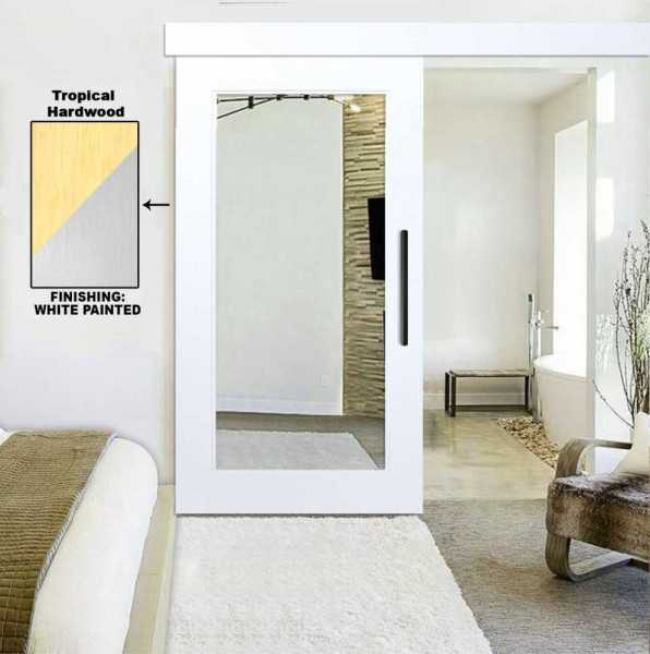 Real Solid Hardwood Sliding Barn Door with Mirror Insert_ Fascia / Cover