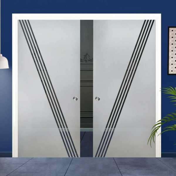 Double Pocket Glass Barn Door (Model DPSGD-0008 Semi-Private)_Recessed Grip Handle