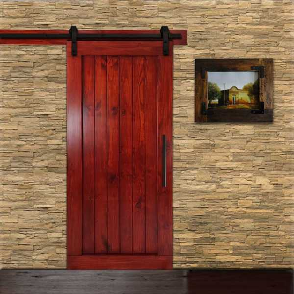 "Pine Wood Vertical Sliding Barn Door with Mahogany Stain 34""x84"" WDLAGER-0002"