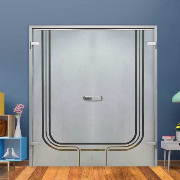 Double Hinged Glass Door (Model H-H+DHGD-0034 Semi-Private)