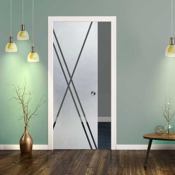 Pocket Glass Barn Door (Model PSGD-0074 Semi-Private)