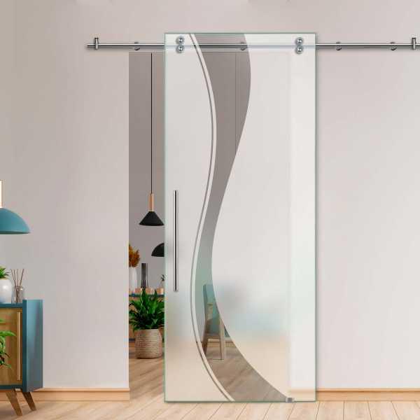 Single Sliding Barn Glass Door SGD-V2000-0039