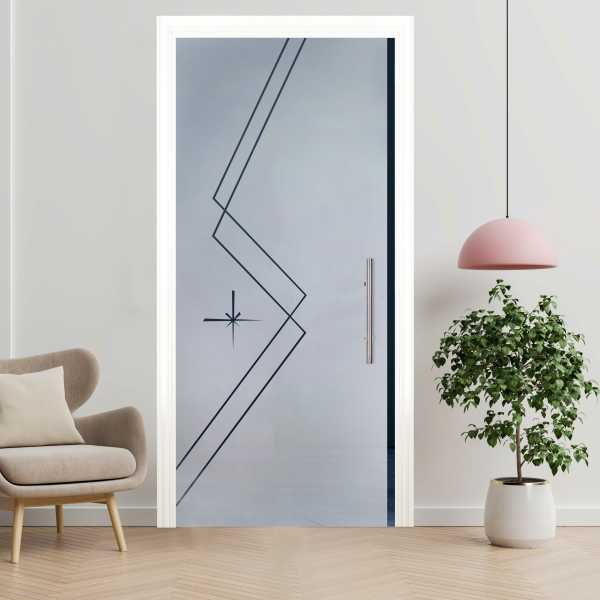 Sliding Pocket Glass Door with Frosted Design and Hardware PSGD-0063