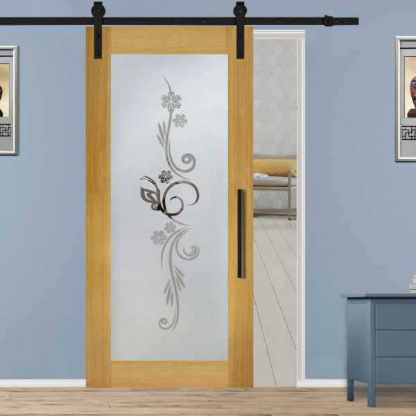 Hardwood African Oak Sliding Barn Door with Glass Insert Included Hardware WGD-0055