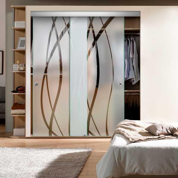 Frameless 2 Leaf Sliding Closet Bypass Glass Door with Hardware CGD-0013