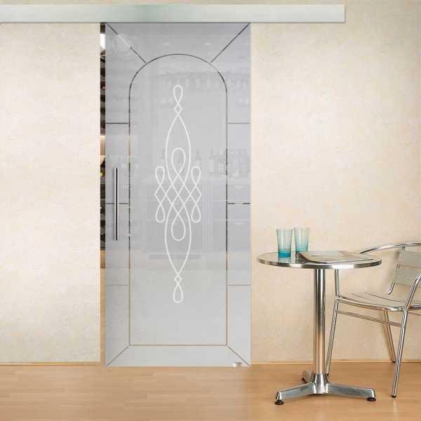 "Sliding Glass Barn Door, 32"" x 81"" Right Handle Bar, 3/8"" (10 mm) CUSTOM DESIGN"