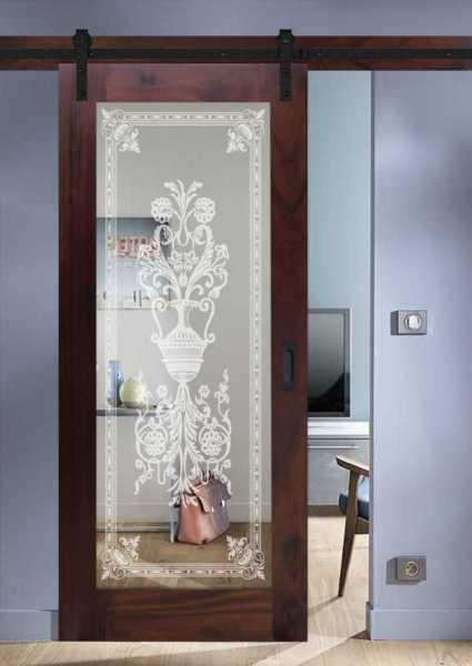 Real Solid Hardwood Sliding Door with Mirror Insert WMD-0100