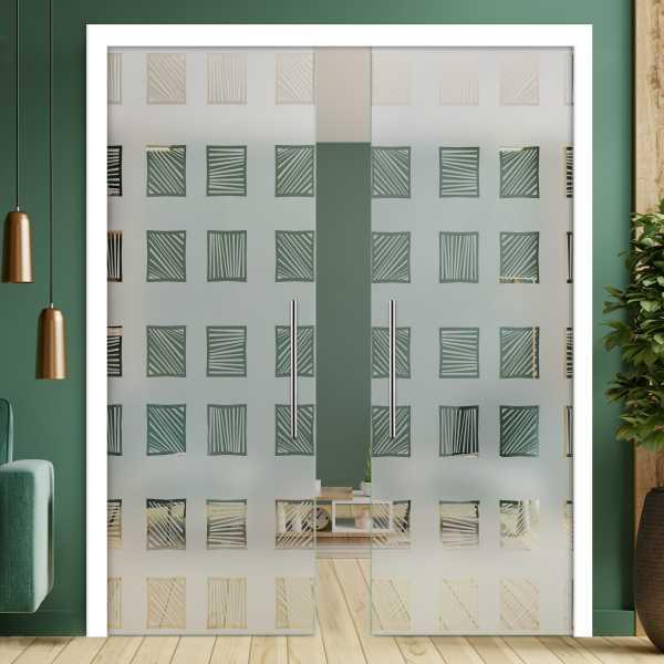 Double Pocket Glass Barn Door (Model DPSGD-0165 Full-Private)_Handle Bar
