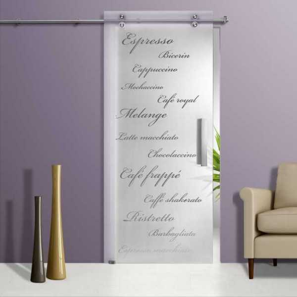 Glass Barn Door With Sliding System + Frosted / Sandblasted + Clear Letter Design