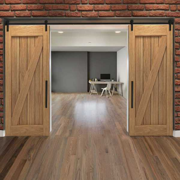 Real Solid Hardwood Diagonal Double Sliding Barn Door WD-0018