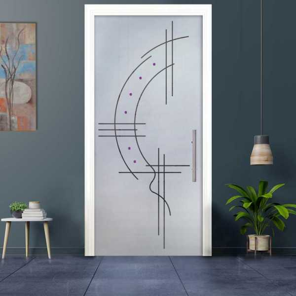 Sliding Pocket Glass Door with Frosted Design and Hardware PSGD-0030