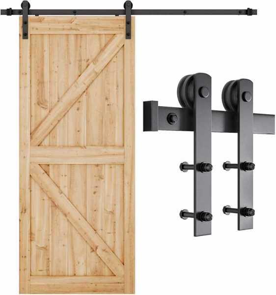 "Smartstandard sliding door hook, for barn doors, ""I"" shaped, black"