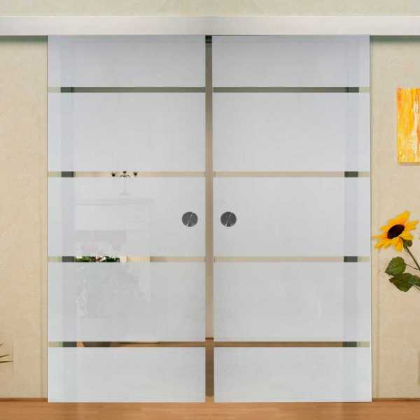 "Double Sliding Barn Glass Door, 2x 35.5"" x 99"" = (71"" x 99""), 10mm thickness, recessed grip handle"