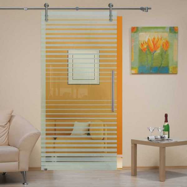 """Sliding Glass Barn Door, 40""""x84"""", Glass Thickness: 1/2"""" and Non-Private Design"""