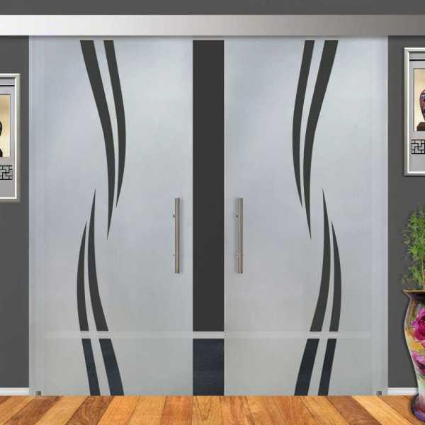 Double Sliding Barn Glass Door DSGD-ALU100-0007