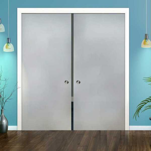 Frosted Double Pocket Sliding Glass Door DPSGD-0020