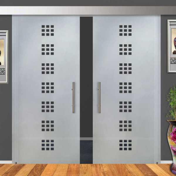 2-Leaf Glass Barn Door (Model DSGD-ALU100-0023 Semi-Private)