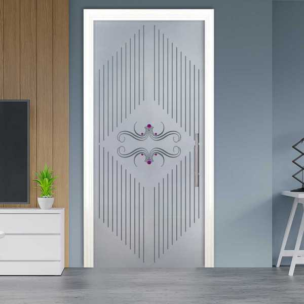 Sliding Pocket Glass Door with Frosted Design and Hardware PSGD-0062