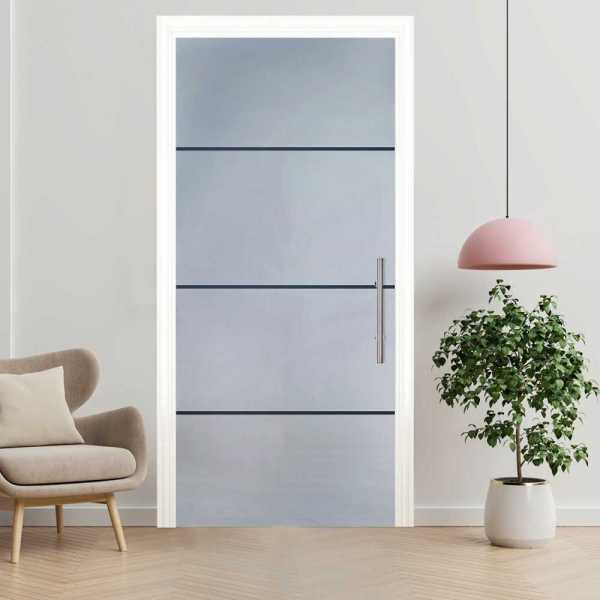 Sliding Pocket Glass Door with Frosted Design and Hardware PSGD-0027