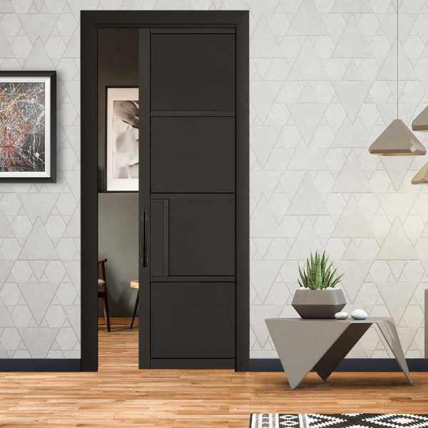 Industrial Style Pocket Door 4 Panels with a Carbon Steel Handle