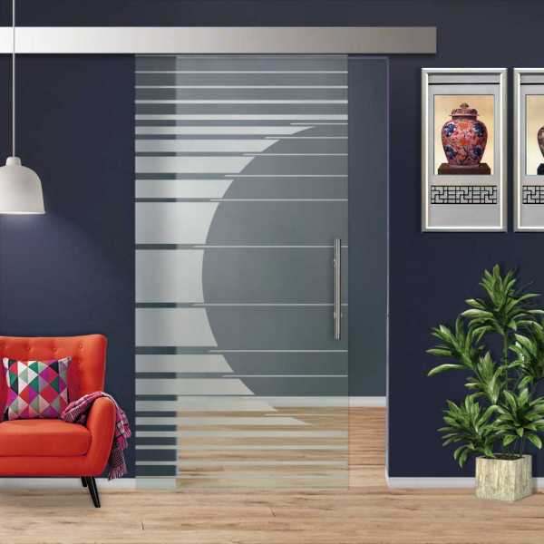 Glass Barn Door (Model SGD-ALU100-0008 Semi-Private)
