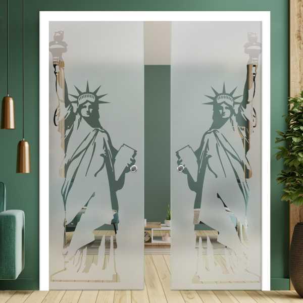 Double Pocket Glass Barn Door (Model DPSGD-0079 Semi-Private)_Recessed Grip Handle