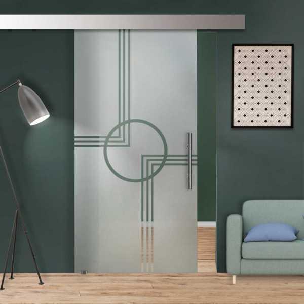 Glass Barn Door (Model SGD-ALU100-0243 Semi-Private)