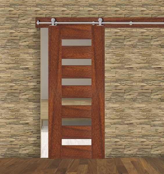 6 Lite Walnut Hardwood Sliding Barn Door WGD-0056