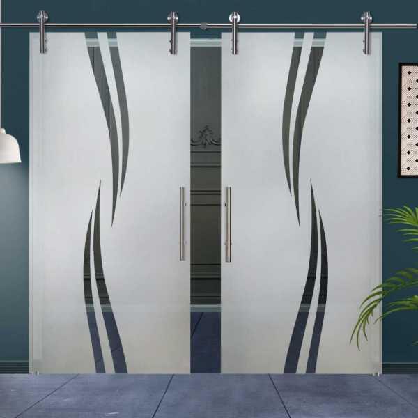 Double Glass Barn Door (Model DSGD-V1000-0043 Semi-Private)