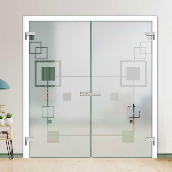 Hinges Glass Barn Door (Model H-H+DHGD-0017 Semi-Private)
