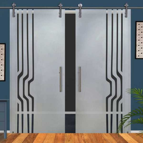 Double Glass Barn Door (Model DSGD-V1000-0055 Semi-Private)