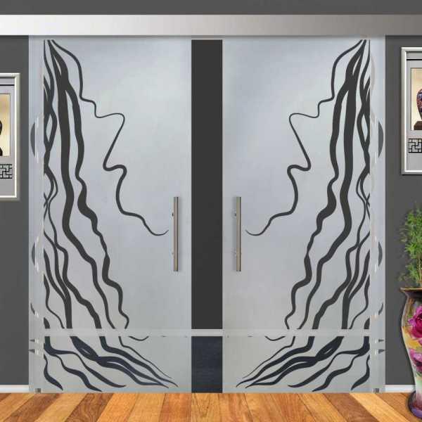 Double Sliding Barn Glass Door DSGD-ALU100-0014
