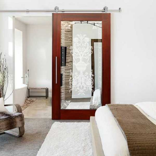 "Hardwood Mahogany Sliding Barn Door with Mirror Insert, 34""x81"" Inches + Design"