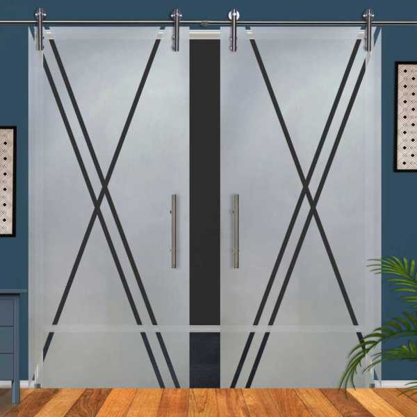 Double Glass Barn Door (Model DSGD-V1000-0048 Semi-Private)