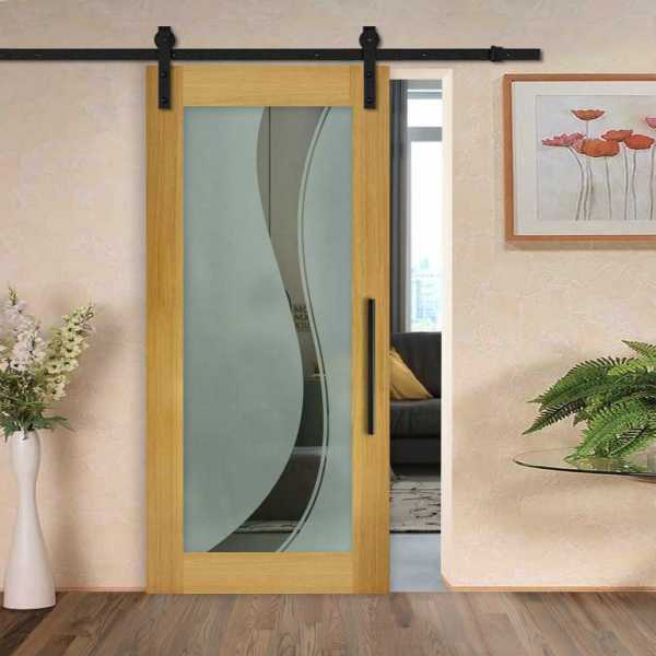 Solid New Zealand oak wood door with glass insert (semi-private frosted design) and carbon steel sliding system