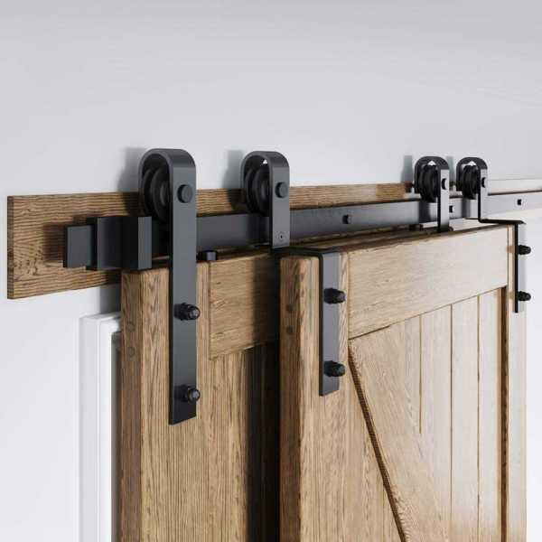 6ft Bypass Barn Sliding Door Hardware Kit