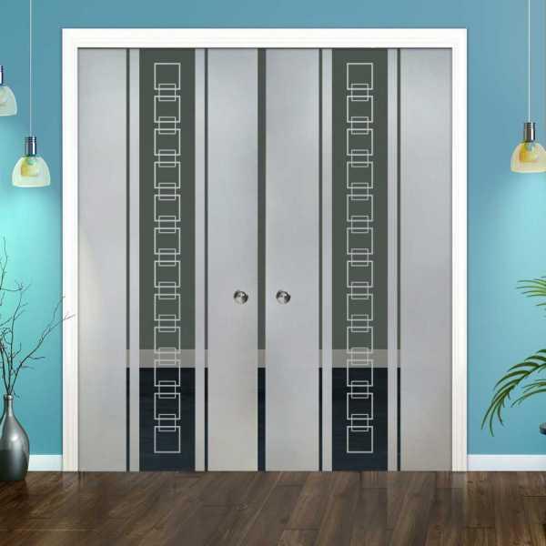 Double Pocket Glass Barn Door (Model DPSGD-0069 Semi-Private)_Recessed Grip Handle