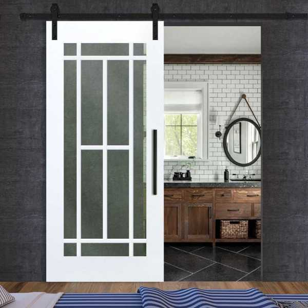 White French Sliding Barn Door with Frosted, Clear or Textured Glass Insert WGD-0028