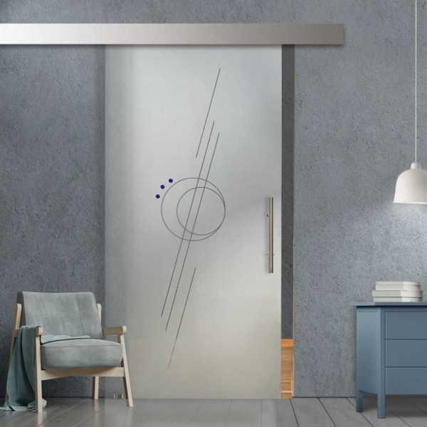 Glass Barn Door (Model SGD-ALU100-0248 Semi-Private)
