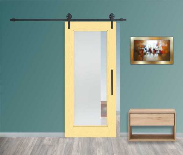 Real Solid Hardwood Sliding with Glass Insert WGD-0021