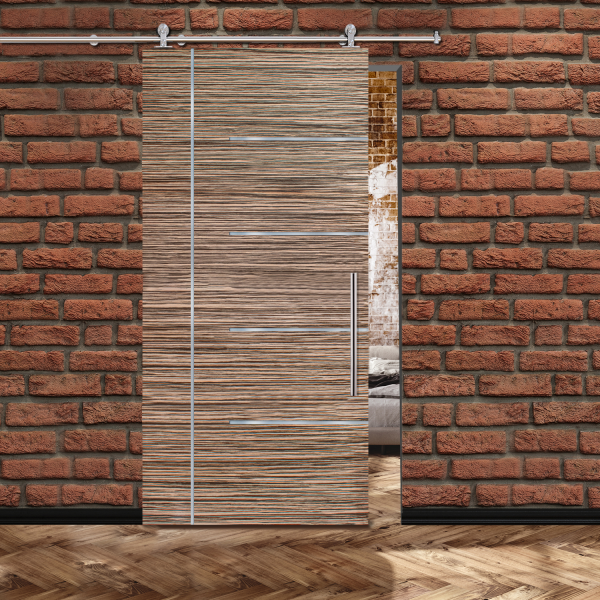 Zebrano Veneer Sliding Barn Door with 5 Stainless Steel Strips + Stainless Steel Hardware and Handle