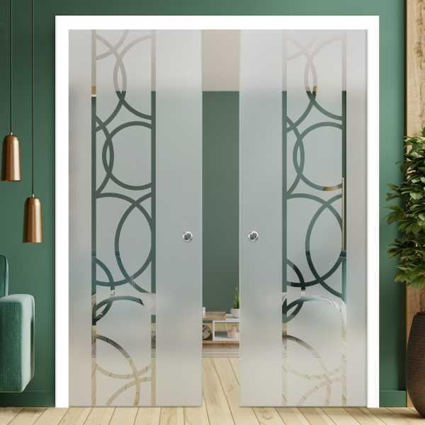 Double Pocket Glass Barn Door (Model DPSGD-0066 Semi-Private)_Recessed Grip Handle