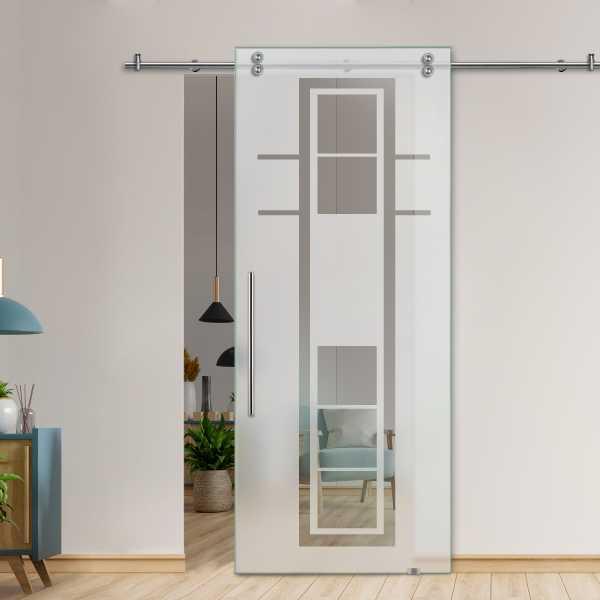 Single Sliding Barn Glass Door SGD-V2000-0473 (Semi-private)