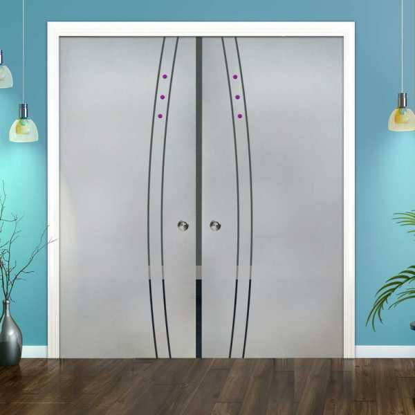Double Pocket Glass Barn Door (Model DPSGD-0095 Semi-Private)_Recessed Grip Handle