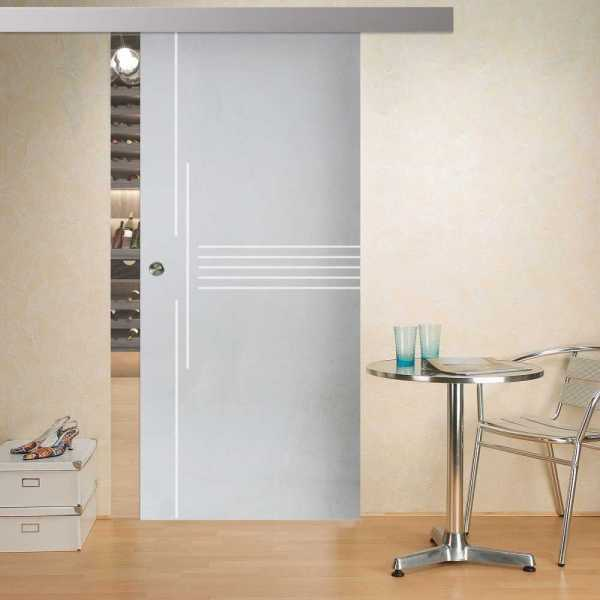"Sliding Glass Barn Door 32"" x 81"", right opening direction, 10mm glass thickness with recess grip"