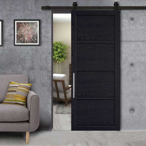 4 Panel Sliding Barn Door Loft Style with Carbon Steel Hardware Kit_Left & Stainless Steel Handle