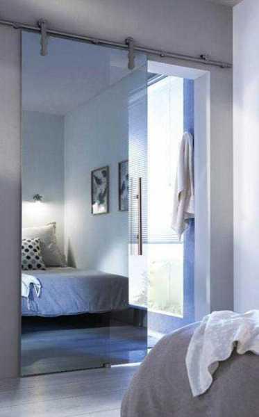 Mirrored Sliding Glass Barn Door SMGD-V1000-0001 (Tempered Safety Glass)