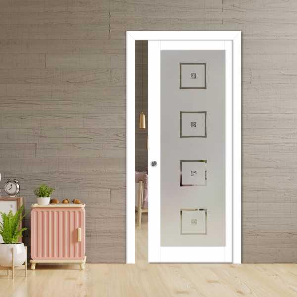 Glass Barn Door (Model PWGD-0004 Semi-Private)_Recessed Grip Handle