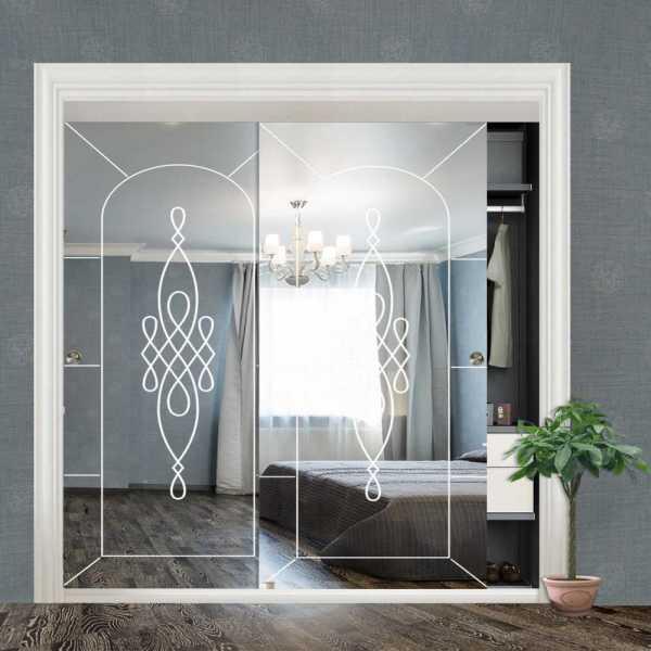 """Frameless 2 Leaf Sliding Closet Bypass Mirror Door 48"""" CMD-0013"""